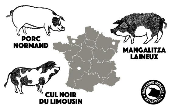 carte france cochons français
